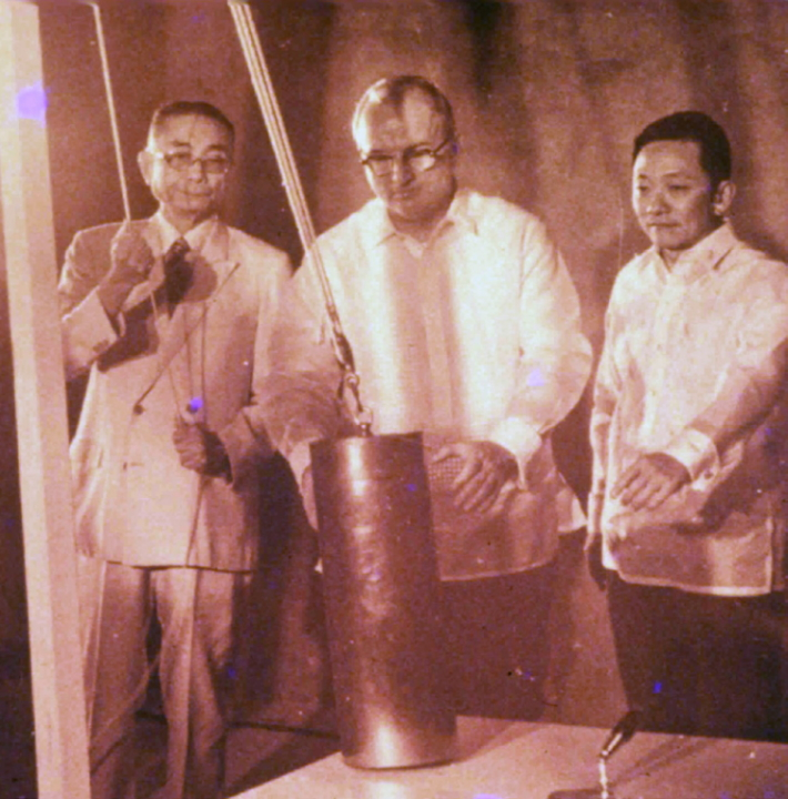 Wash laying the cornerstone of AIM with Eugenio Lopez (left) and Stephen H. Fuller (center).